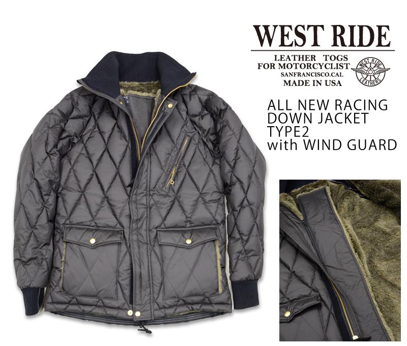 【WEST RIDE/ウエストライド】レザージャケット/ALL NEW RACING DOWN JACKET TYPE2 ブラック
