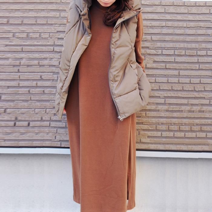 暖か ダウンベスト レディース COLMAX 中綿 防寒 高い衿が素敵 大人っぽい こなれ感 ブラウン ノースリーブ アウター ダウンベストコーデ