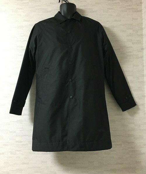 【新古品】WITHAM【ウィザム】ステンカラーコート中綿メンズ黒44バックシグネチャーロゴ【中古】