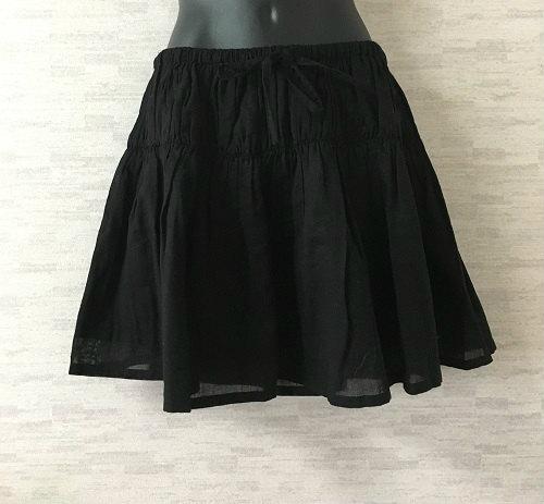 LIMI feu【リミフゥ】フレアミニスカートウエストゴムギャザー黒コットンS【中古】