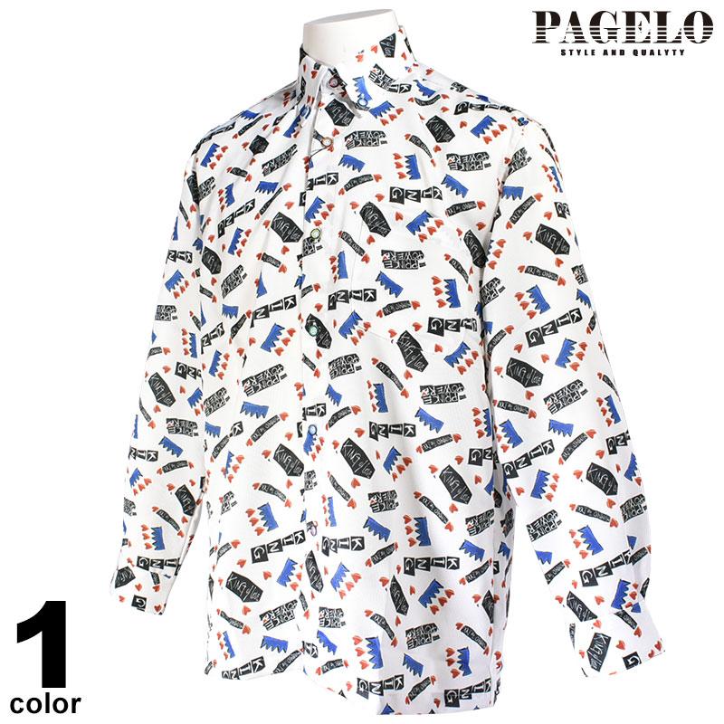 パジェロ PAGELO 長袖ボタンダウンシャツ メンズ 2019秋冬 総柄 プリント 95-1116-07