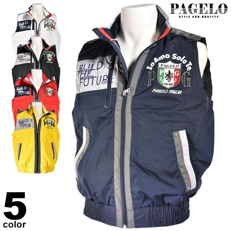 パジェロ PAGELO ジップアップベスト メンズ 2019秋冬 ロゴ プリント アップリケ 98-3520-06