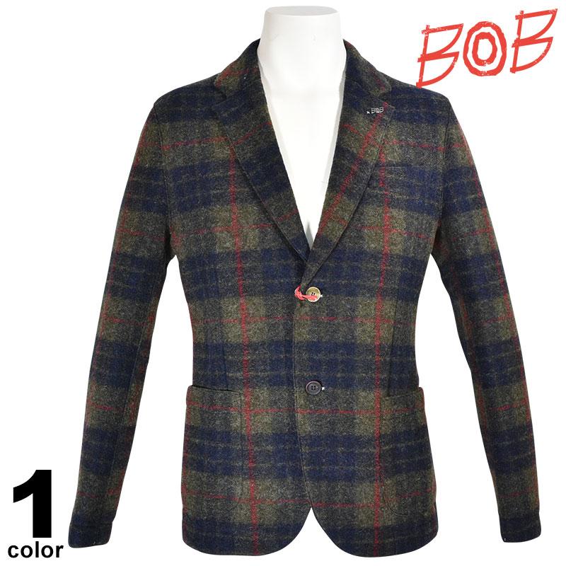 SALE 30%OFF ボブ BOB 長袖 ジャケット メンズ 秋冬 チェック ウール インポート ロゴ 98-4104-59