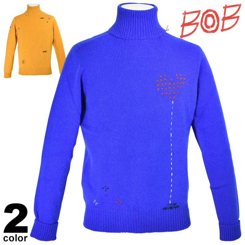 SALE 30%OFF ボブ BOB 長袖 セーター メンズ 秋冬 ウール100% タートルネック ロゴ 98-7901-59