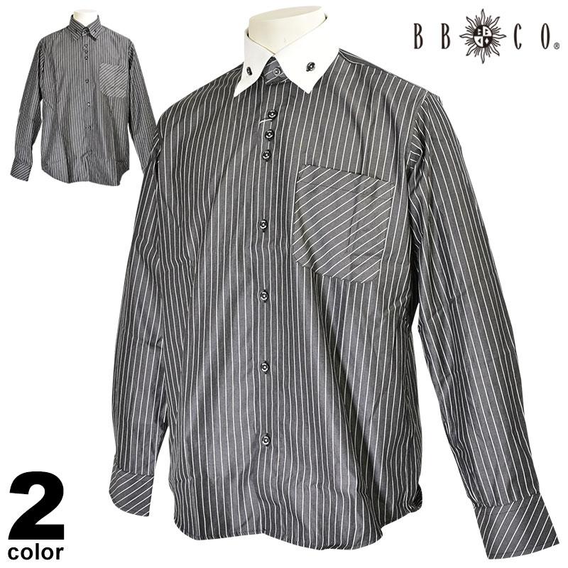 ビビコ BBCO 長袖カジュアルシャツ メンズ 2019秋冬 ボタンダウン ストライプ ロゴ 95-1104-12