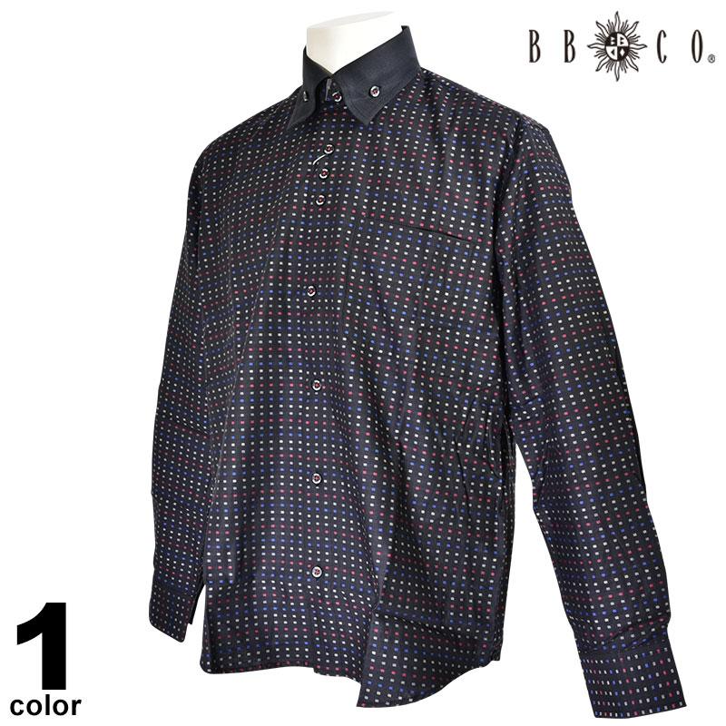 ビビコ BBCO 長袖カジュアルシャツ メンズ 2019秋冬 ボタンダウン 総柄 ロゴ 95-1109-12