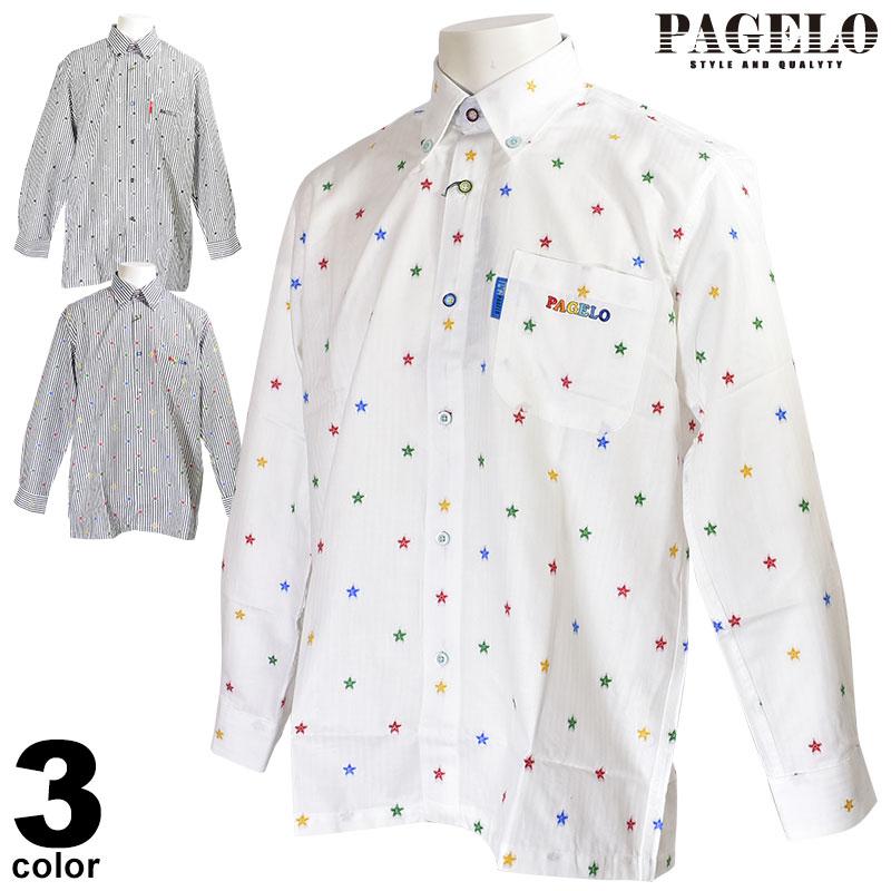 パジェロ PAGELO 長袖カジュアルシャツ メンズ 2019秋冬 ボタンダウン 星柄 ロゴ 95-1123-07