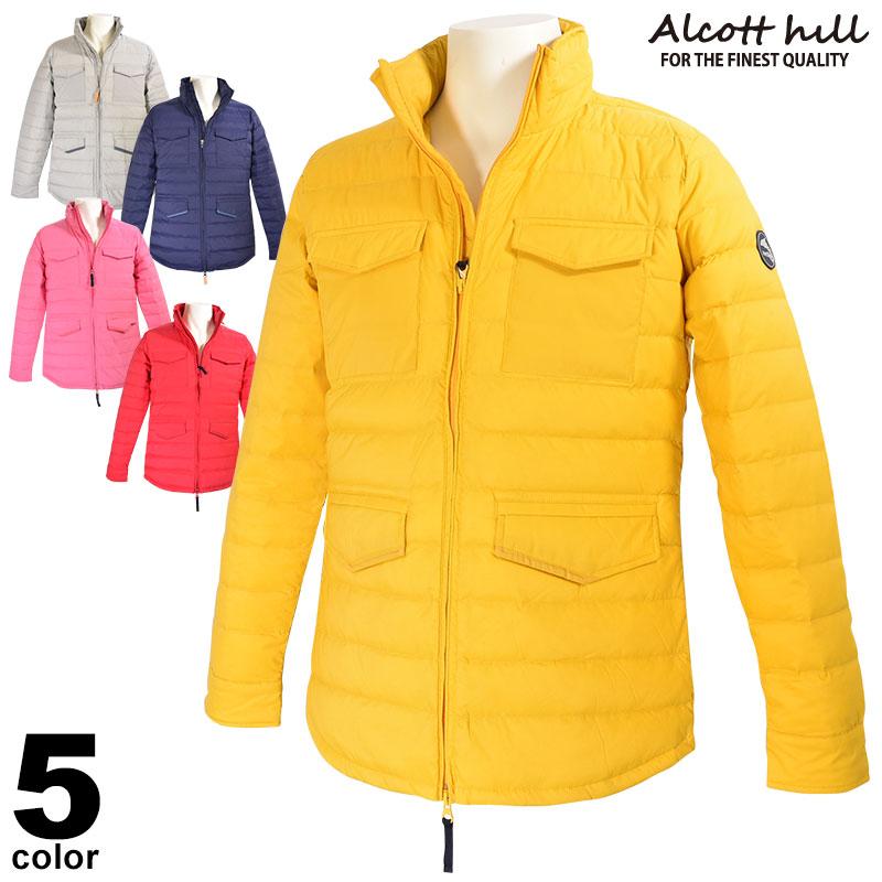 SALE 30%OFF アルコットヒル ALCOTT HILL 長袖ダウンジャケット メンズ 2019秋冬 無地 ジップアップ ロゴ 95-3105-10