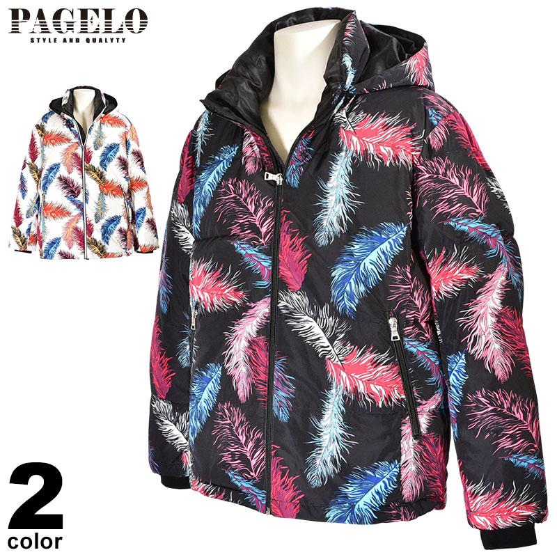 パジェロ PAGELO ダウンジャケット メンズ 2019秋冬 羽模様 フード取り外し可能 ロゴ 95-3106-07