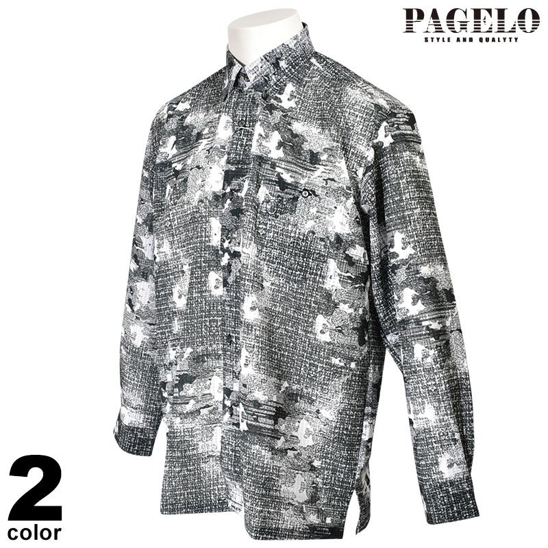 パジェロ PAGELO 長袖ボタンダウンシャツ メンズ 2020春夏 プリント総柄 ロゴ刺繍 01-1110-07