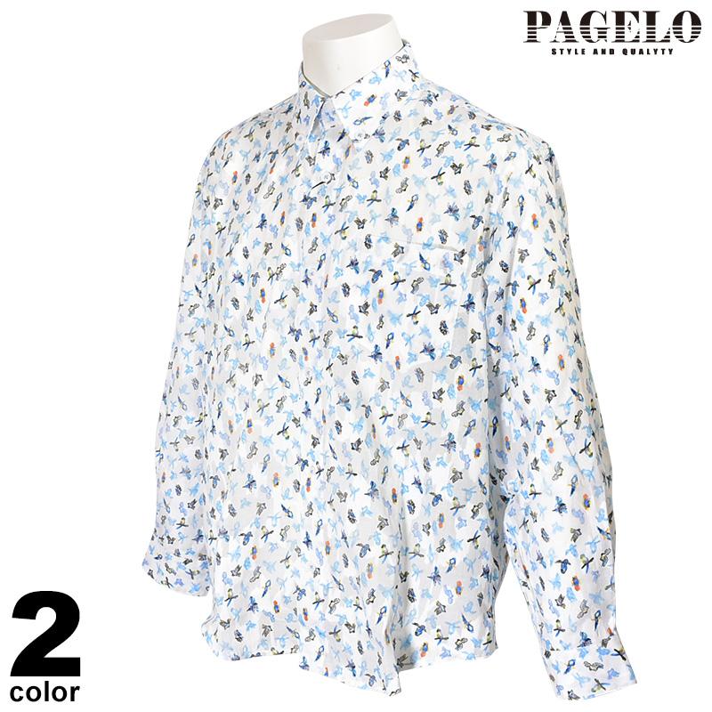パジェロ PAGELO 長袖ボタンダウンシャツ メンズ 2020春夏 ジャガード プリント総柄 01-1112-07