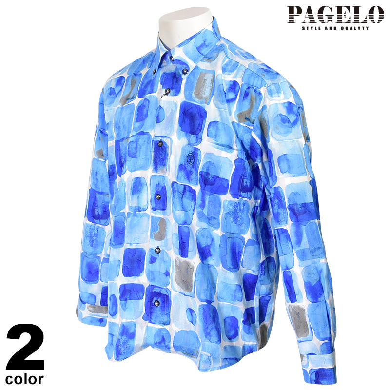 パジェロ PAGELO 長袖ボタンダウンシャツ メンズ 2020春夏 プリント総柄 ロゴ刺繍 01-1113-07