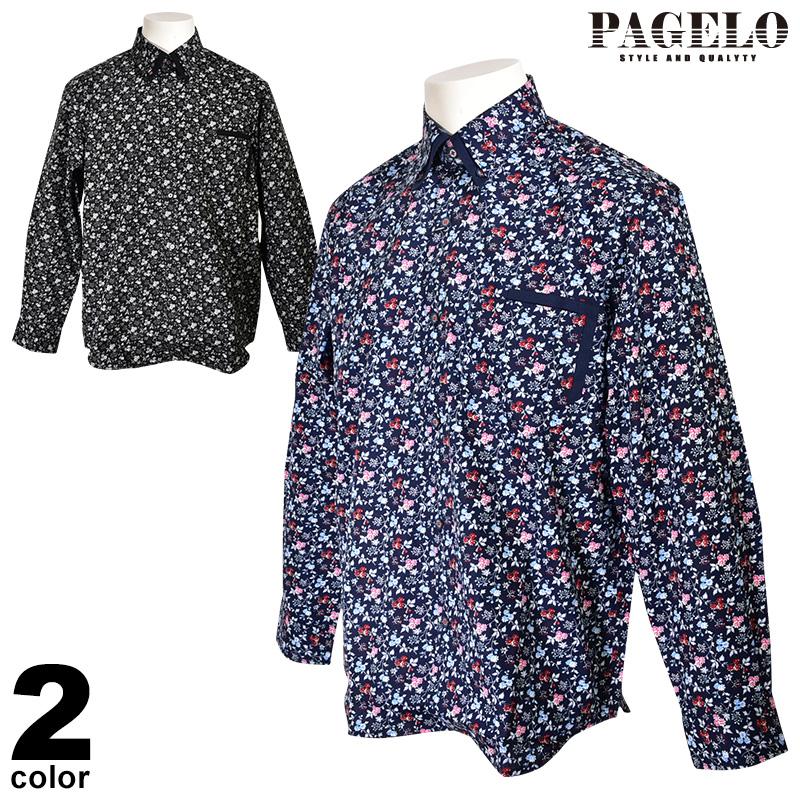 パジェロ PAGELO 長袖ボタンダウンシャツ メンズ 2020春夏 小花柄 総柄 01-1115-07