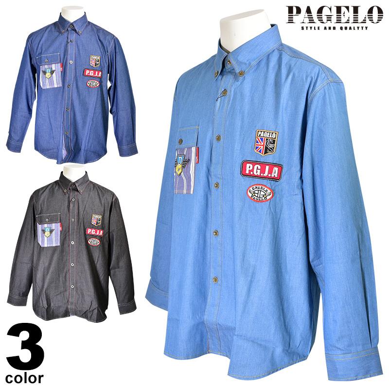 パジェロ PAGELO 長袖ボタンダウンシャツ メンズ 2020春夏 ロゴワッペン 01-1116-07