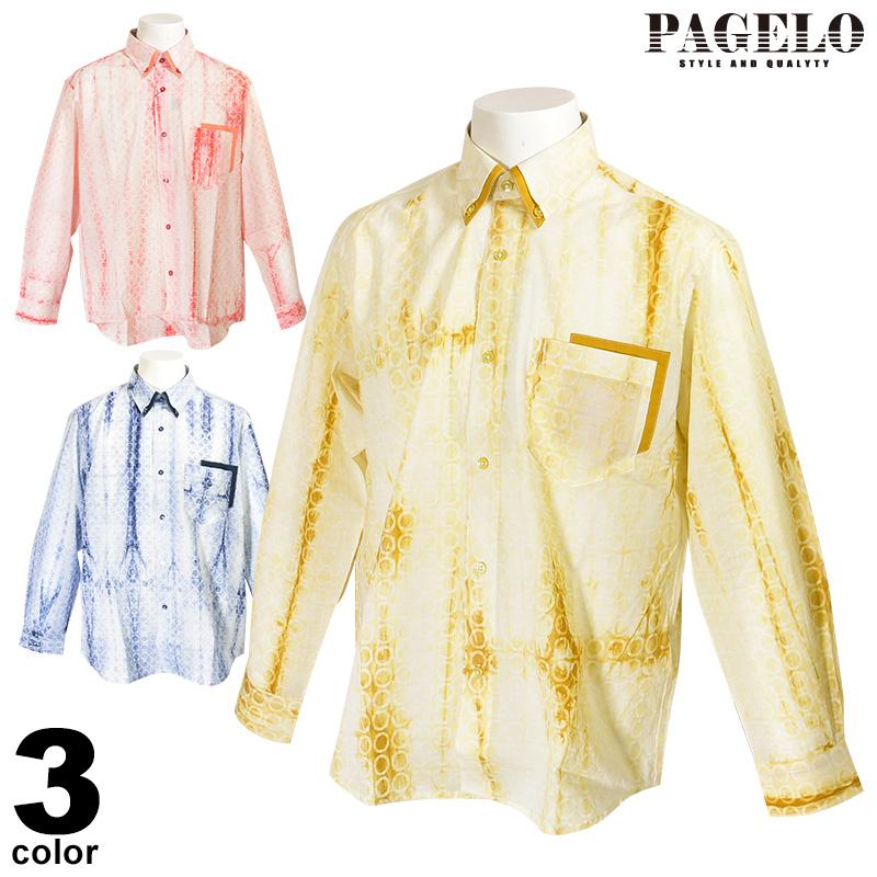 パジェロ PAGELO 長袖ボタンダウンシャツ メンズ 2020春夏 薄手 総柄 プリント 01-1119-07