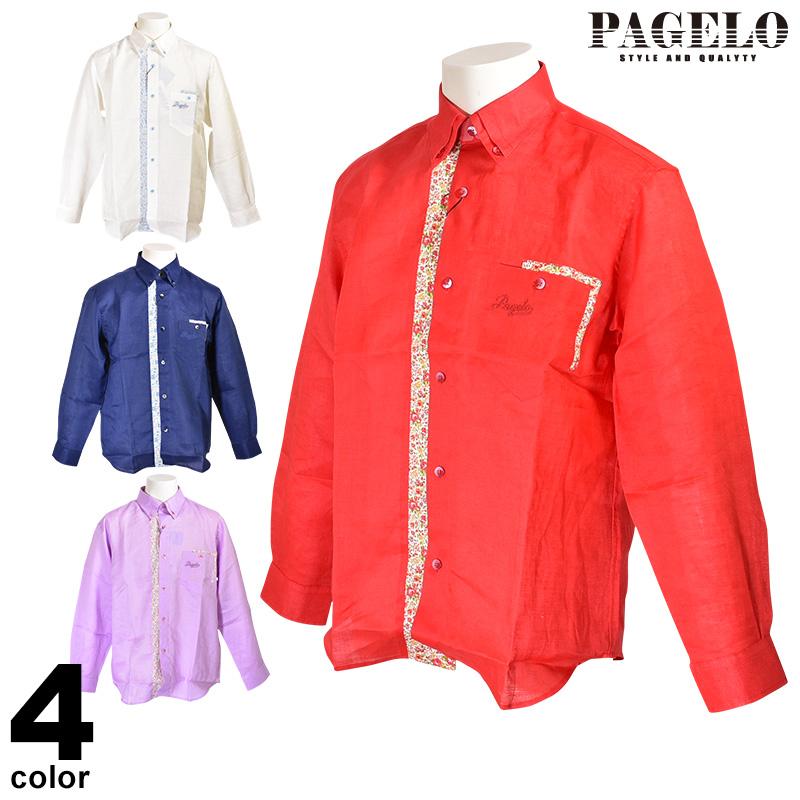 パジェロ PAGELO 長袖麻ボタンダウンシャツ メンズ 2020春夏 小花柄 ロゴ 刺繍 01-1122-07