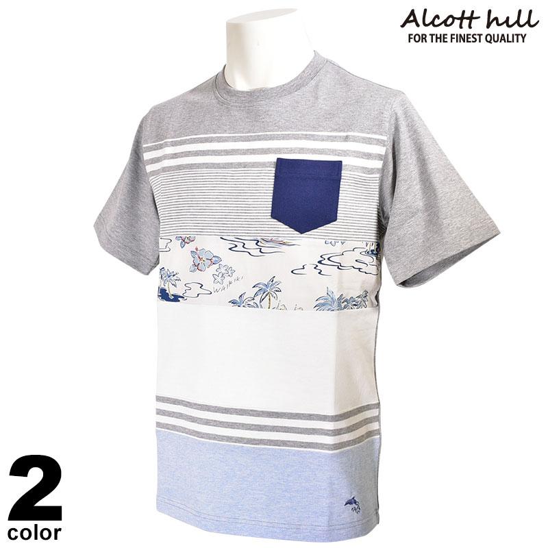 アルコットヒル ALCOTT HILL 半袖カットソー メンズ 2020春夏 ボーダー 01-2505-10