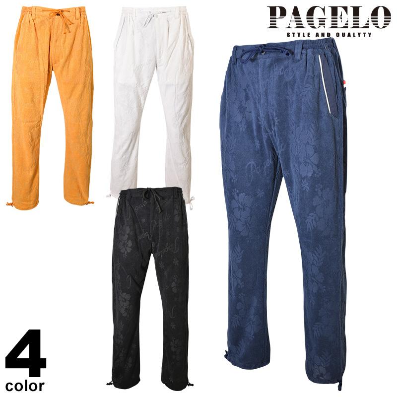 PAGELO パジェロ ロングパンツ メンズ 2020春夏 ハイビスカス パイル地 ロゴ 01-5303-07