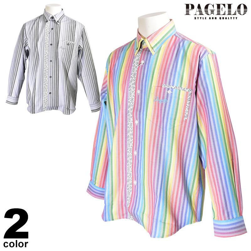 パジェロ PAGELO 長袖 カジュアルシャツ メンズ 2020春夏 ストライプ ロゴ 04-1141-07