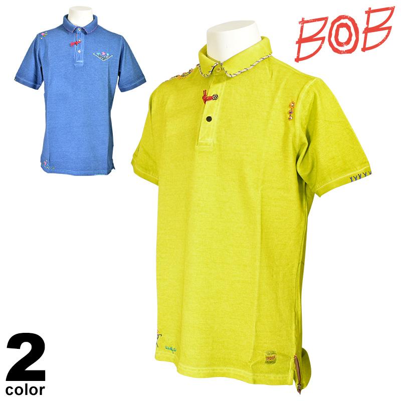 SALE 30%OFF ボブ BOB 半袖 ポロシャツ メンズ 春夏 刺繍 94-2804-59
