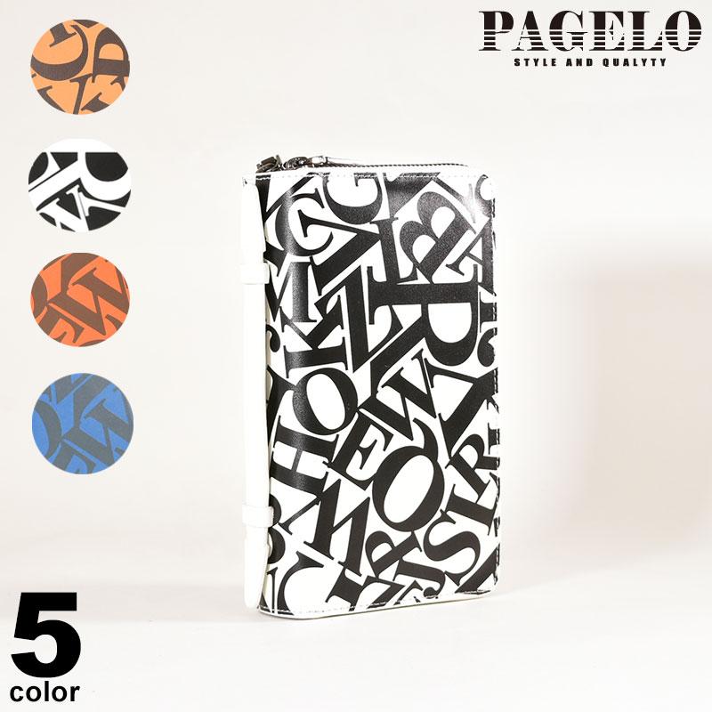 パジェロ PAGELO ラウンドファスナー長財布 メンズ 牛革 クラッチバッグ ダブルファスナー 総柄プリント p0-0213-07