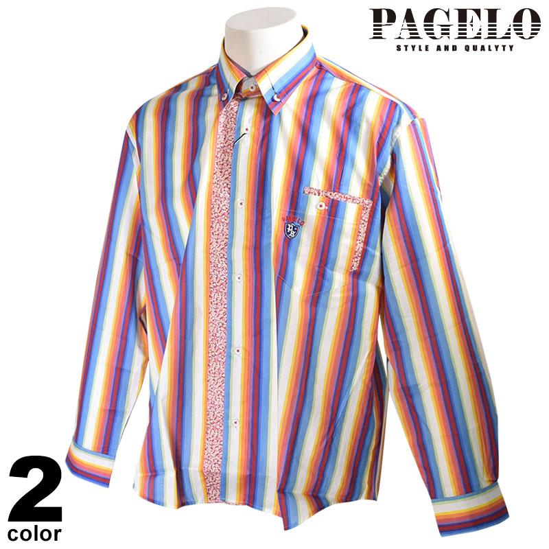 パジェロ PAGELO 長袖 カジュアルシャツ メンズ 2020春夏 ボタンダウン ストライプ 花柄 01-1111-07