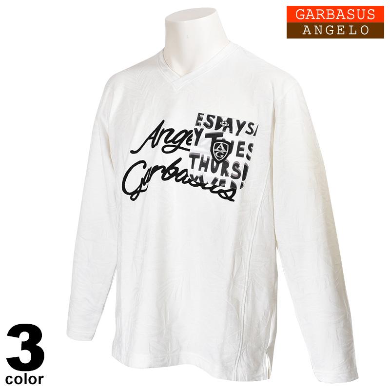 アンジェロガルバス ANGELO GARBASUS 長袖カットソー メンズ 2020春夏 Vネック 胸ポケット ジャガード 01-1701-03