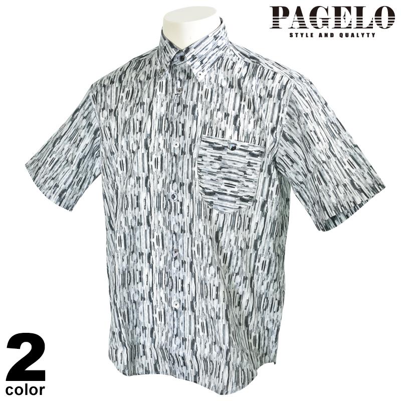 パジェロ PAGELO 半袖 カジュアルシャツ メンズ 2020春夏 ボタンダウン 総柄 01-2118-07