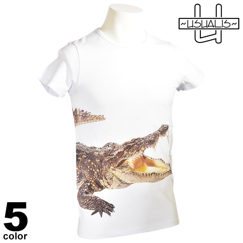 USUALIS ウザリス 半袖 Tシャツ メンズ 2020春夏 インポート ワニ柄 プリント 01-2501-60