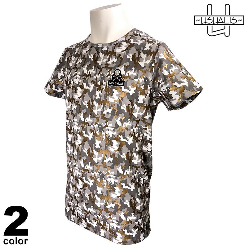 USUALIS ウザリス 半袖 Tシャツ メンズ 2020春夏 インポート 迷彩 01-2519-60