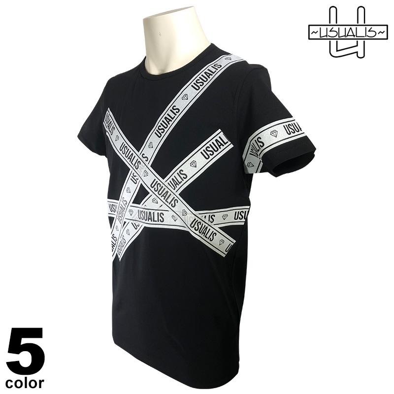 USUALIS ウザリス 半袖 Tシャツ メンズ 2020春夏 インポート プリント 01-2520-60
