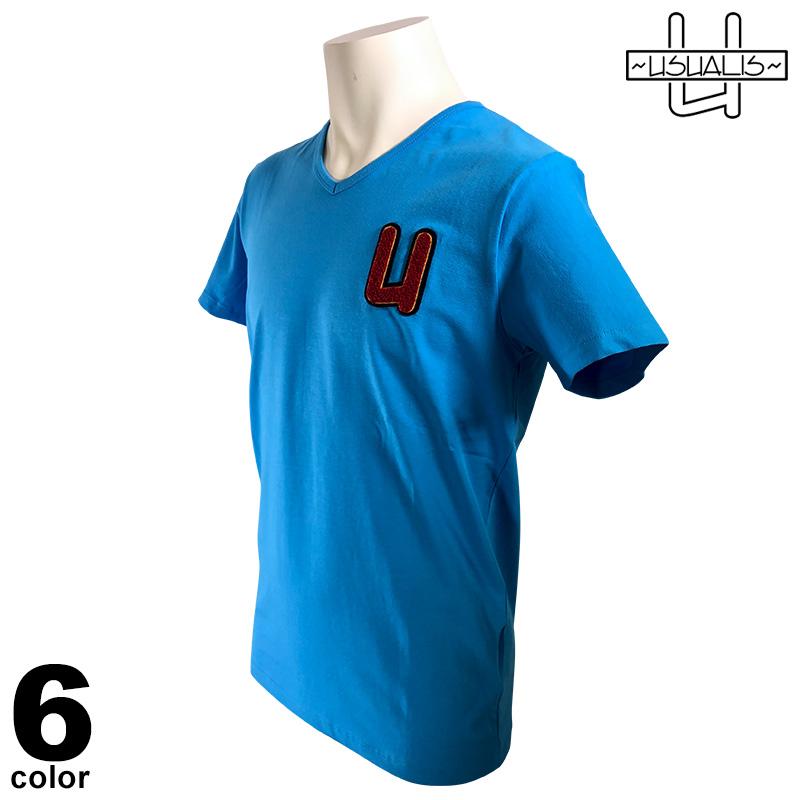 USUALIS ウザリス 半袖 Tシャツ メンズ 2020春夏 インポート ラインストーン 01-2703-60