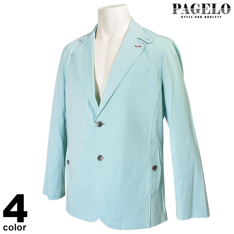 パジェロ PAGELO 長袖テーラード ジャケット メンズ 2020春夏 ストライプ 麻 01-4101-07c