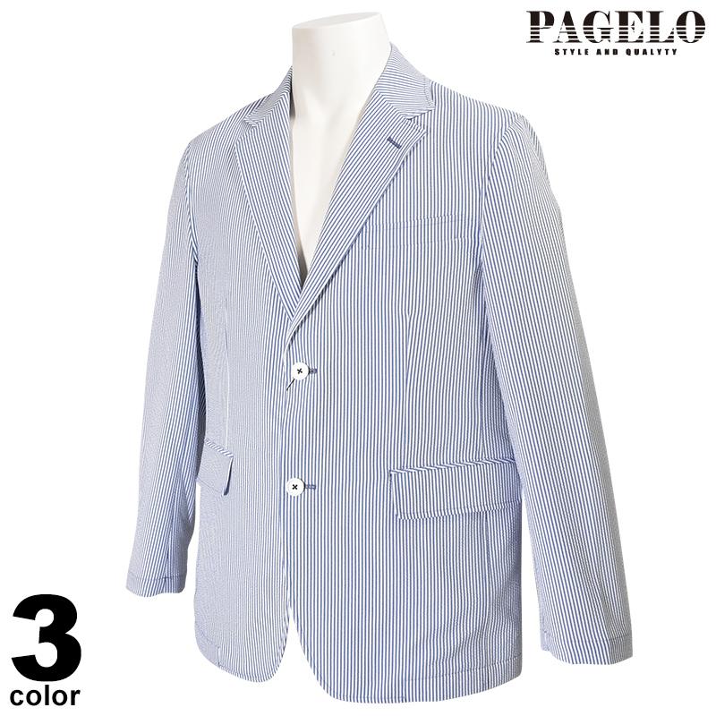パジェロ PAGELO 長袖 テーラード ジャケット メンズ 2020春夏 花柄 ストライプ 01-4107-07c