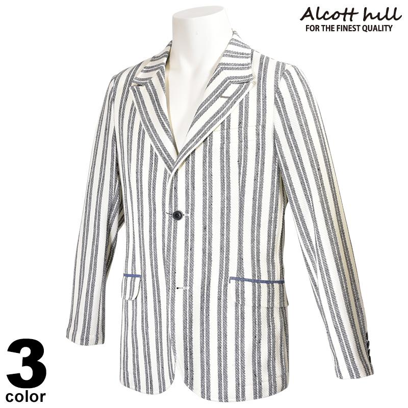 ALCOTT HILL アルコットヒル 長袖 テーラード ジャケット メンズ 2020春夏 ストライプ 01-4117-10