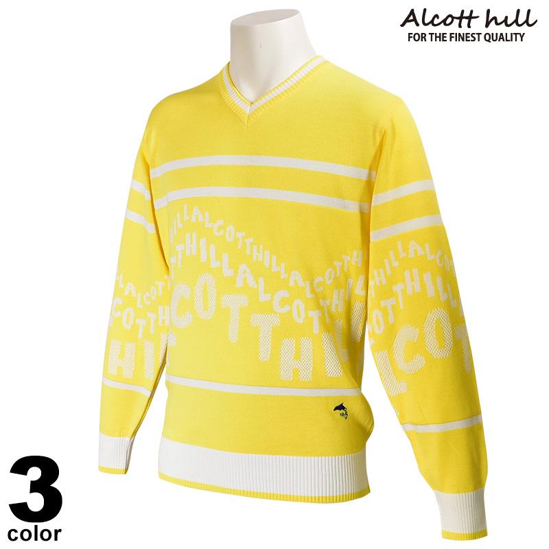 ALCOTT HILL アルコットヒル 長袖 サマーニット メンズ 2020春夏 ボーダー Vネック 01-7201-10