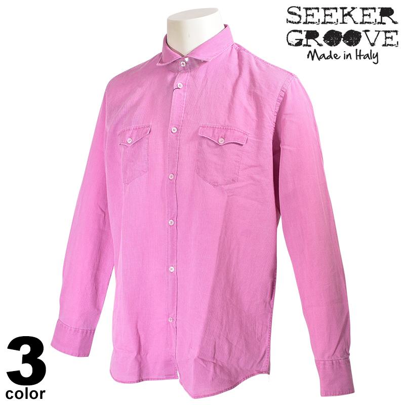 20%OFF SEEKER GROOVE シーカーグルーブ 長袖 カジュアルシャツ メンズ 2020春夏 イタリア製 インポート 04-1005-44