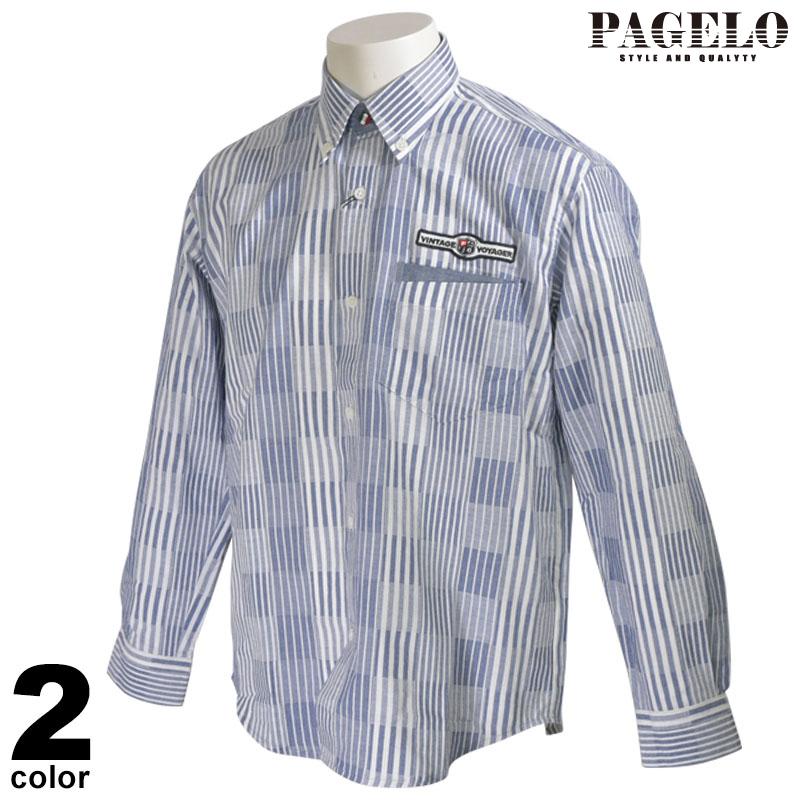 パジェロ PAGELO 長袖 カジュアルシャツ メンズ 2020春夏 ストライプ ボタンダウン 01-1120-07