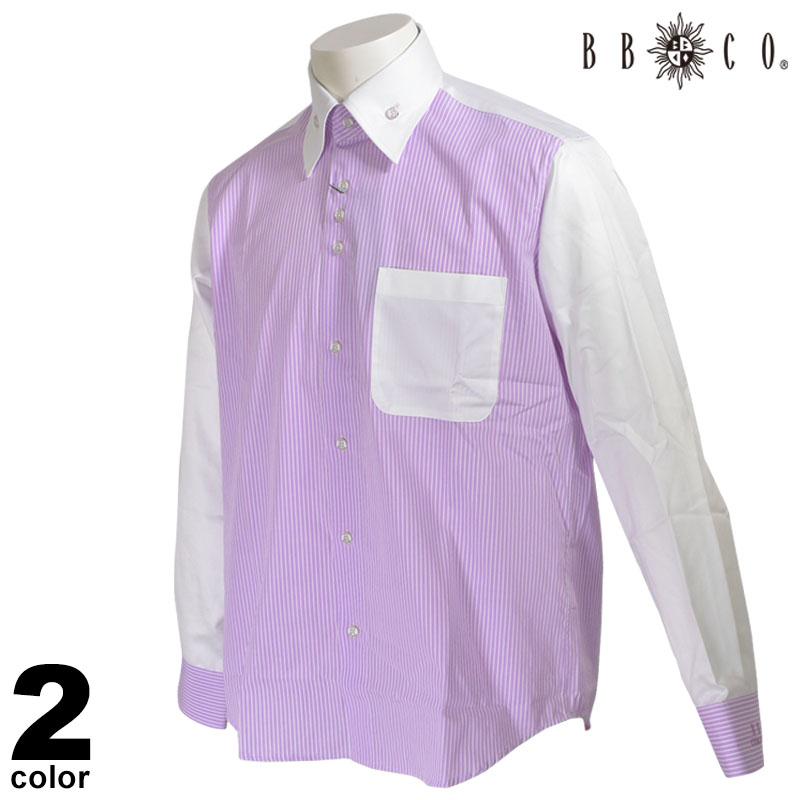 BBCO ビビコ 長袖 カジュアルシャツ メンズ 2020春夏 ストライプ ボタンダウン 01-1154-12