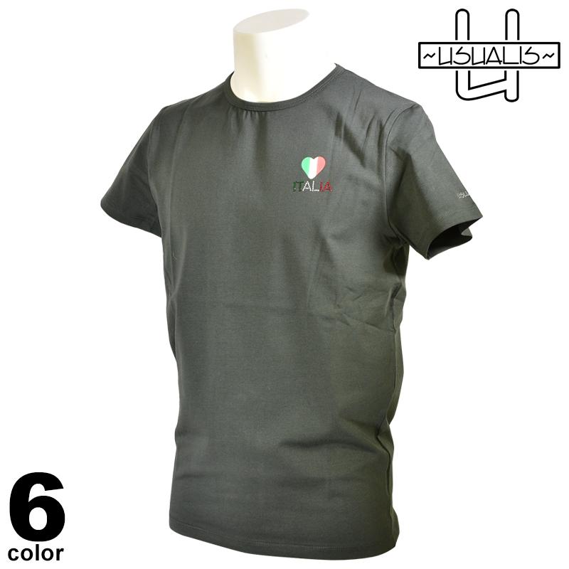 USUALIS ウザリス 半袖 Tシャツ メンズ 2020春夏 インポート ラインストーン ハート 01-2523-60
