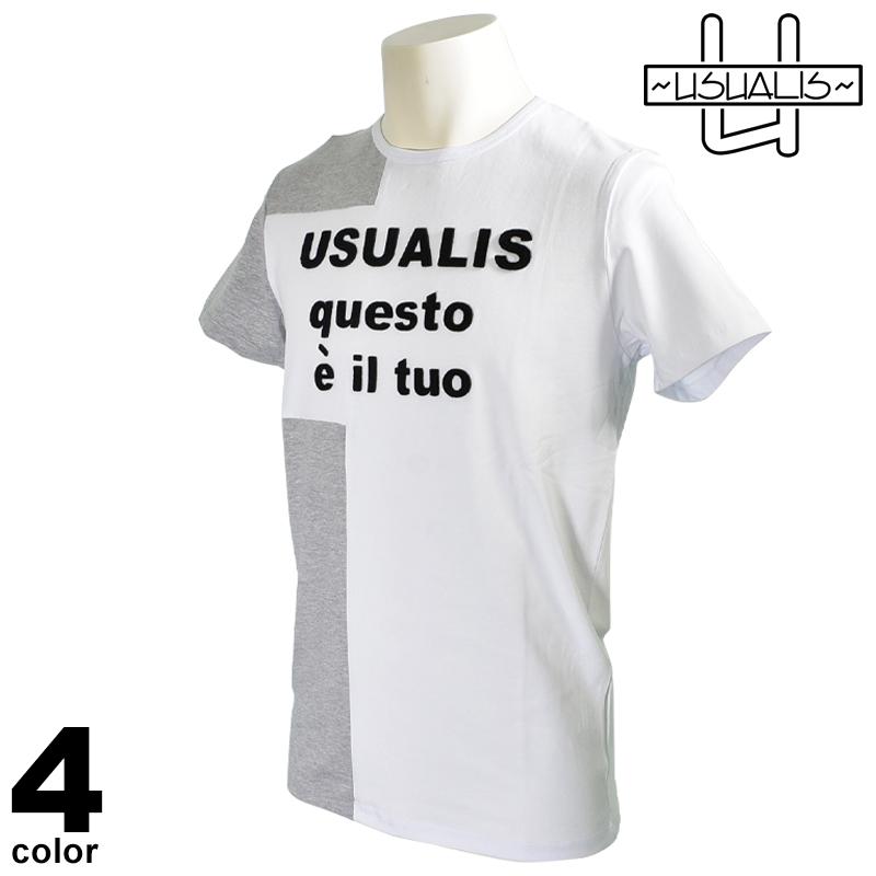 USUALIS ウザリス 半袖 Tシャツ メンズ 2020春夏 インポート 刺繍 01-2524-60