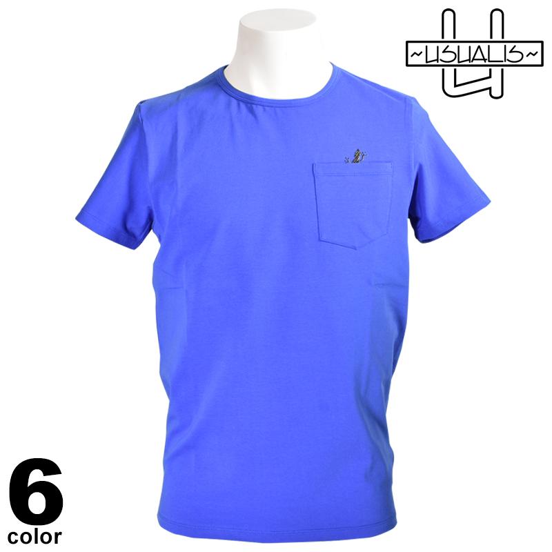 USUALIS ウザリス 半袖 Tシャツ メンズ 2020春夏 インポート トカゲ ワンポイント ラインストーン 01-2527-60