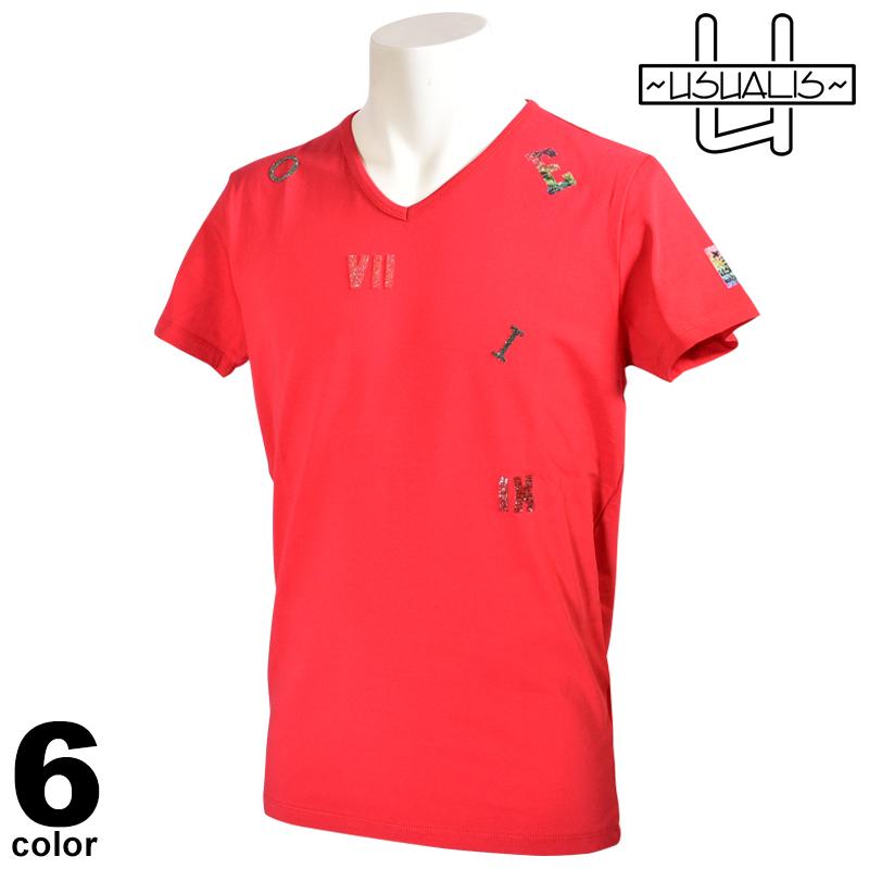 USUALIS ウザリス 半袖 Tシャツ メンズ 2020春夏 ブイネック アルファベット ラインストーン 01-2712-60
