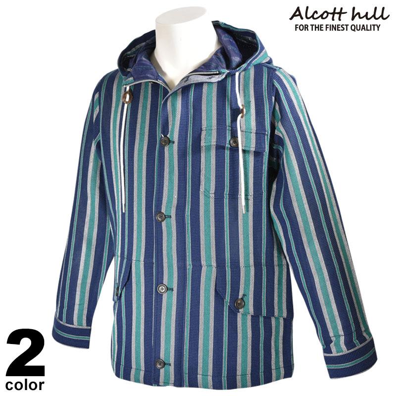 ALCOTT HILL アルコットヒル 長袖 ジャケット メンズ 2020春夏 ストライプ フード付き 01-3105-10