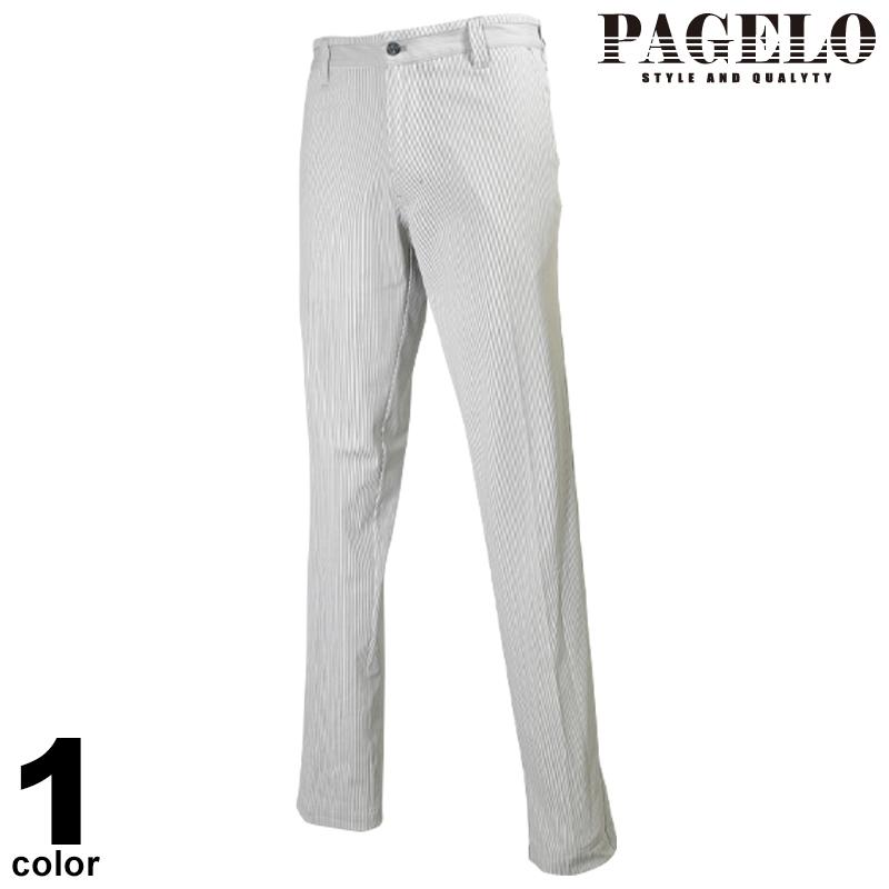 パジェロ PAGELO ロング パンツ メンズ 2020春夏 ノータック ストライプ ロゴ 01-5010-07n