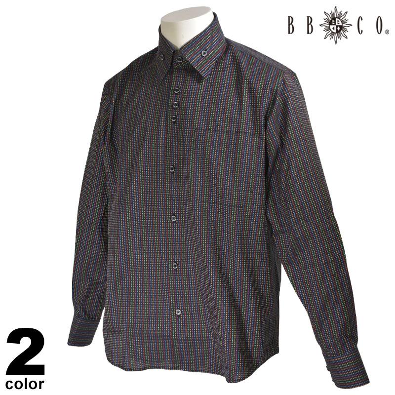 BBCO ビビコ 長袖 カジュアルシャツ メンズ 2020春夏 刺繍 ボタンダウン ストライプ 04-1110-12