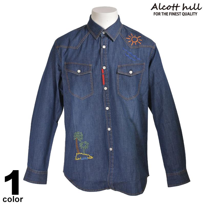 ALCOTT HILL アルコットヒル 長袖 デニム カジュアルシャツ メンズ 2020春夏 刺繍 ロゴ 01-1001-10
