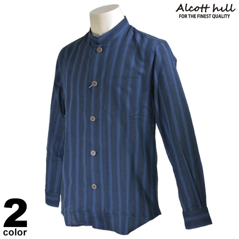 ALCOTT HILL アルコットヒル 長袖 カジュアルシャツ メンズ 2020春夏 ストライプ スタンドカラー 01-1201-10