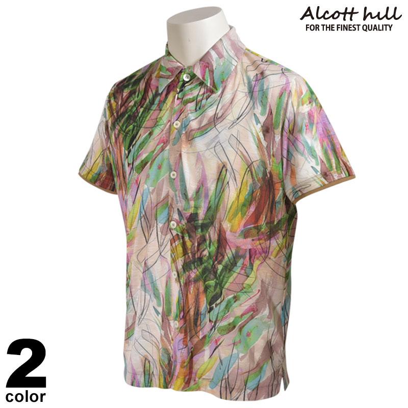 ALCOTT HILL アルコットヒル 半袖 カジュアルシャツ メンズ 2020春夏 総柄 ロゴ 01-2005-10