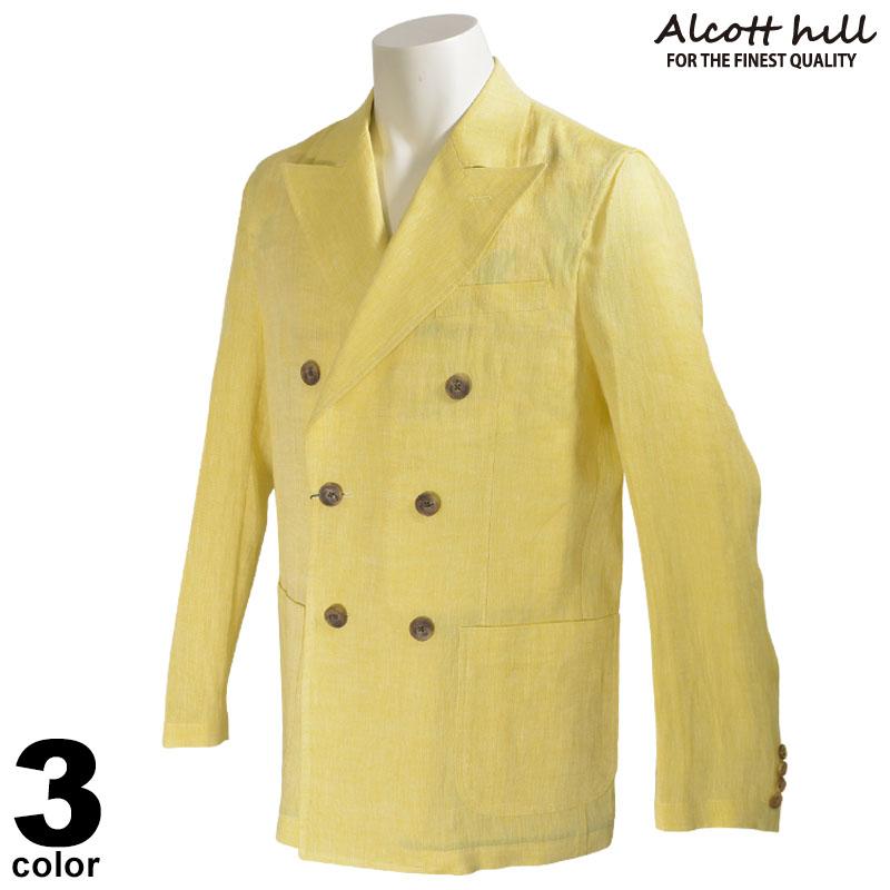 ALCOTT HILL アルコットヒル 長袖 ジャケット メンズ 2020春夏 麻100% 花柄 ロゴ 01-4103-10